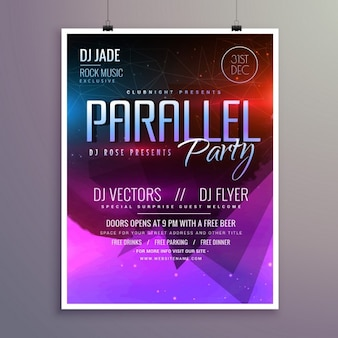 Party poster with purple tones
