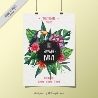 Party poster with toucan and tropical flowers in watercolor effect