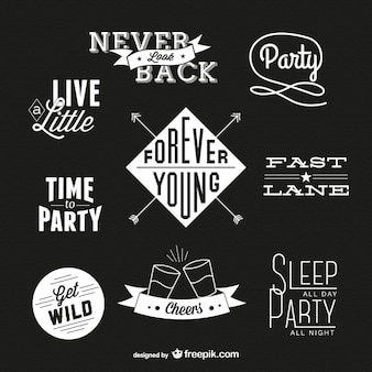 Party time badges in black and white