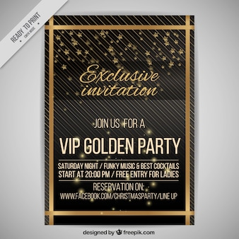 Party vip poster with golden lines