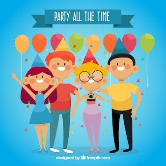風船の背景を持つパーティー