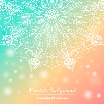 Pastel colored background with hand drawn mandala