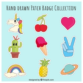 Patches hand drawn with varied themes