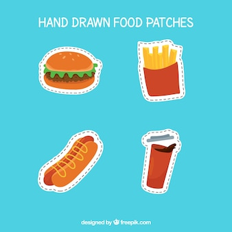 Patches of hand drawn food