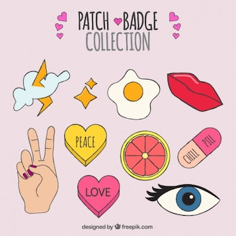 Patches set of varied hand-drawn elements