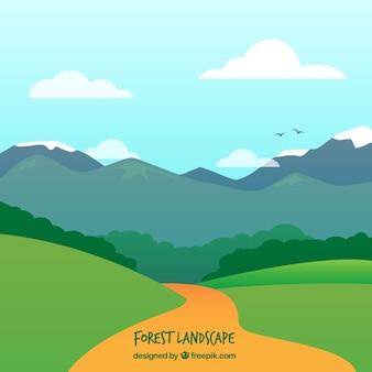 Путь в пейзаж с горами