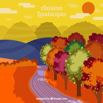 Pathway with colorful trees and mountains background