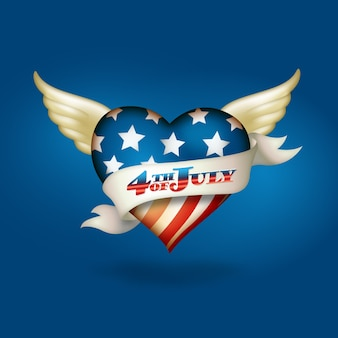 Patriotic winged heart design for independence day