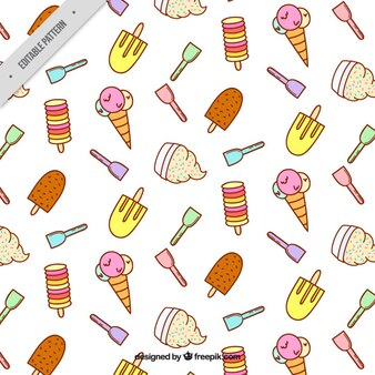 Pattern full hand drawn ice-creams