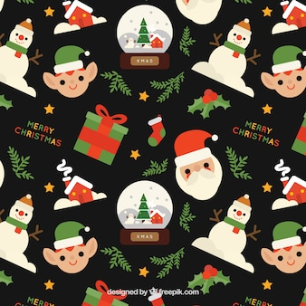 Pattern of christmas characters and gifts