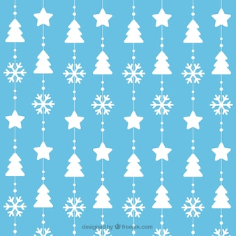 Pattern of christmas trees and snowflakes