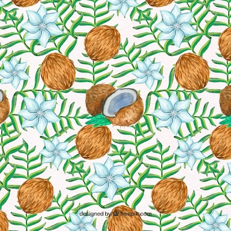 Pattern of coconuts with leaves and watercolor flowers