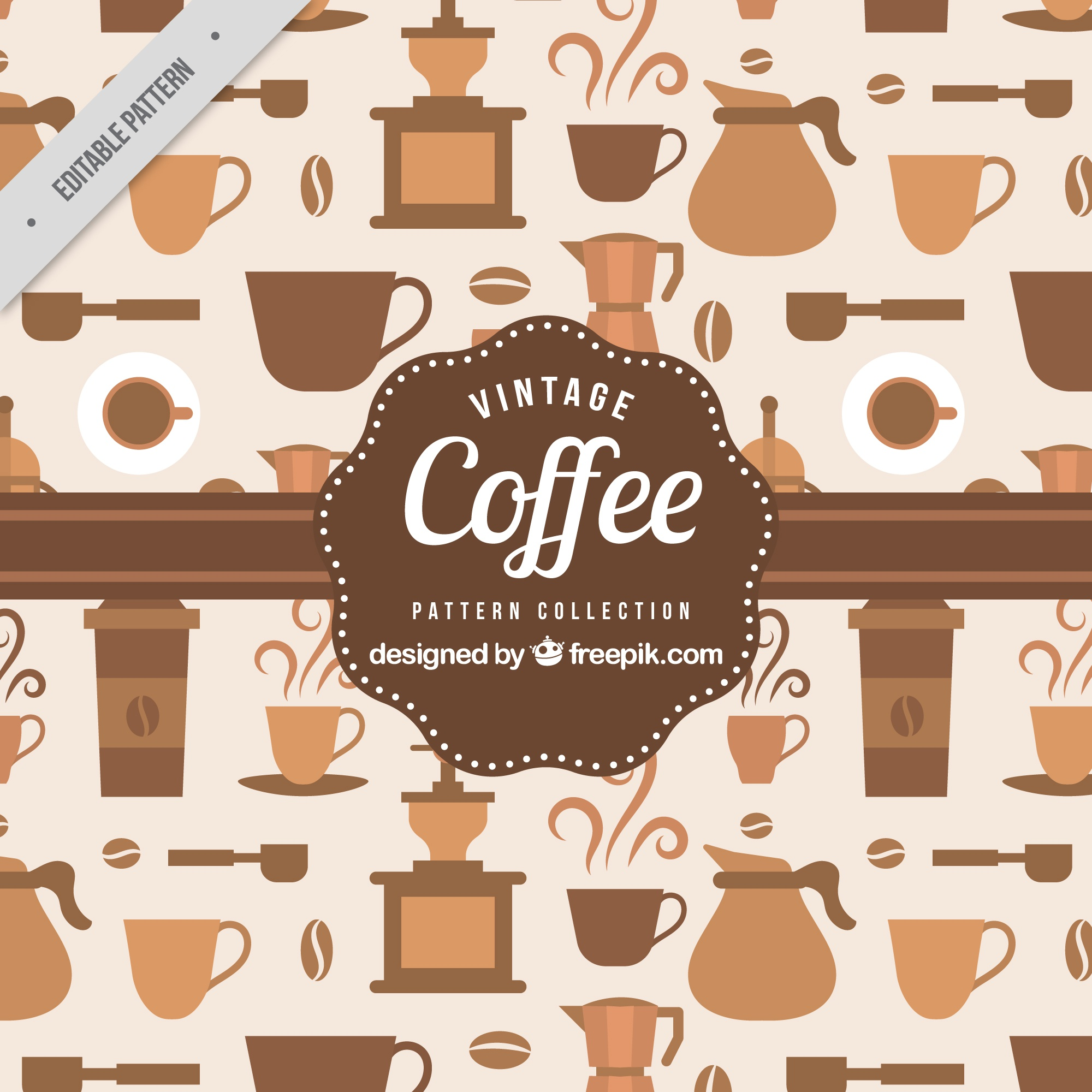 Pattern of coffee elements in vintage style