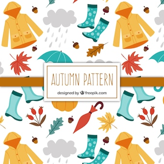 Pattern of hand-drawn autumn elements and accessories