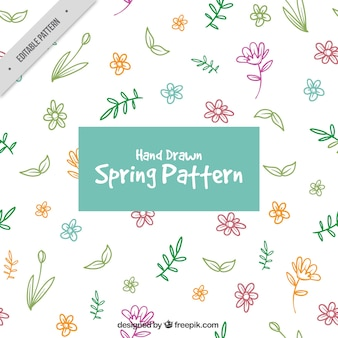 Pattern of hand-drawn colored flowers