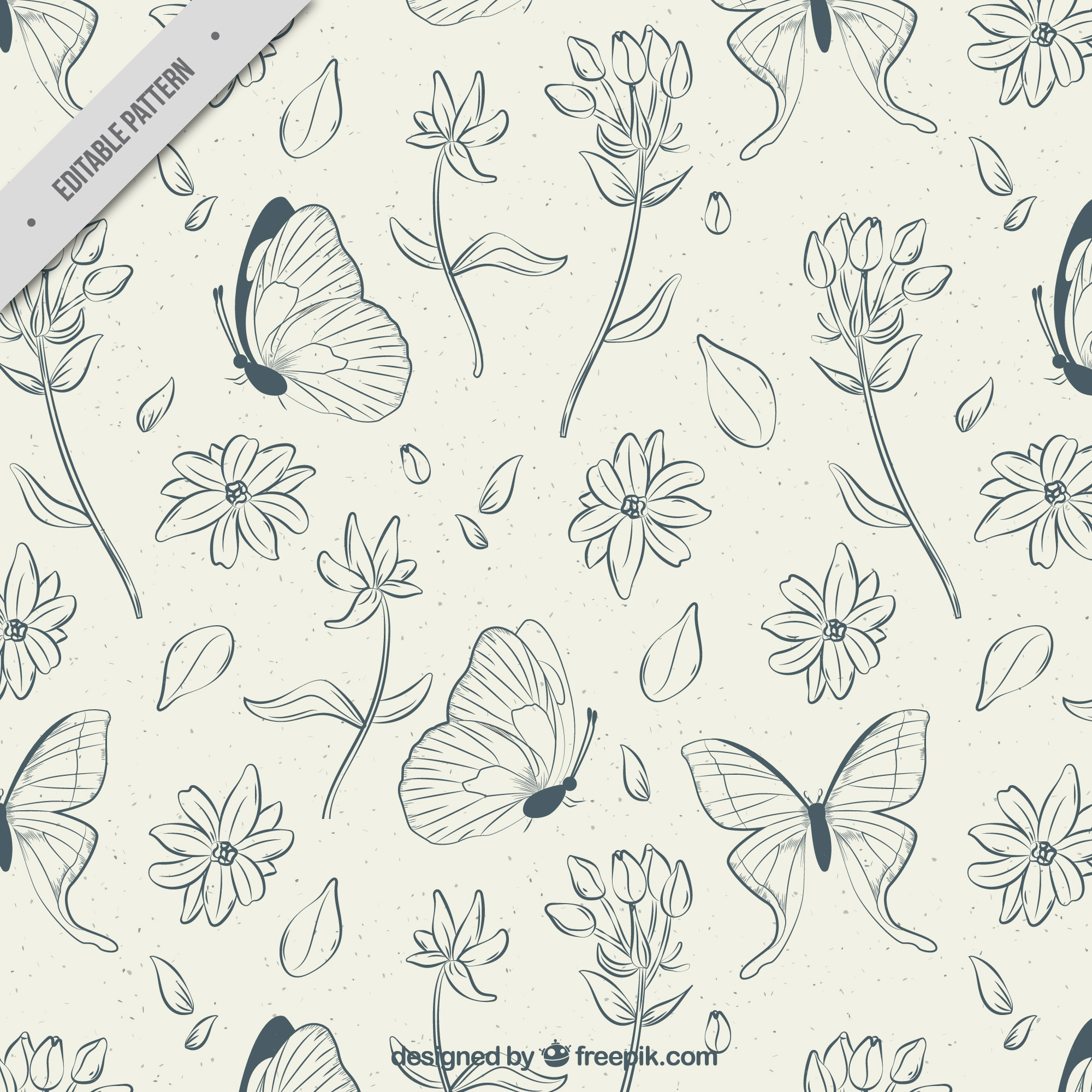 Pattern of hand drawn flowers and butterflies