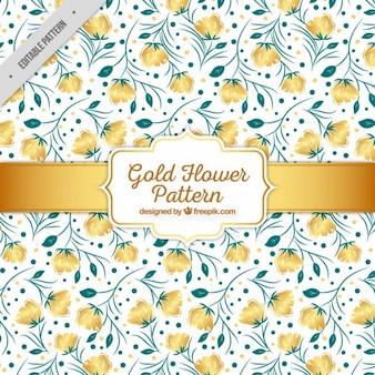 Pattern of hand-drawn golden flowers
