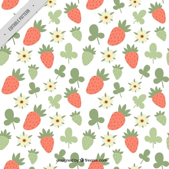 Pattern of hand drawn strawberries and flowers
