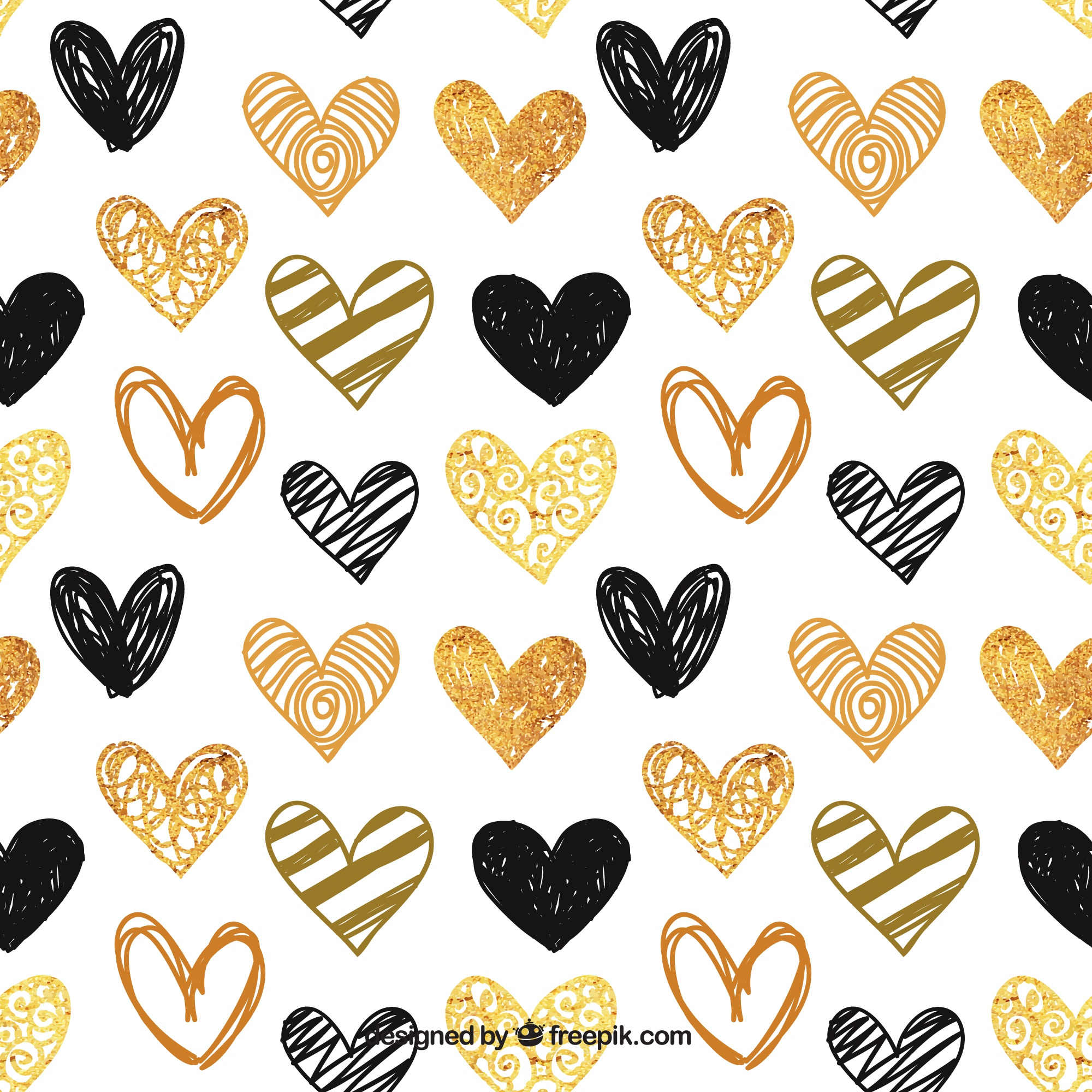 Pattern of hand-painted golden and black hearts