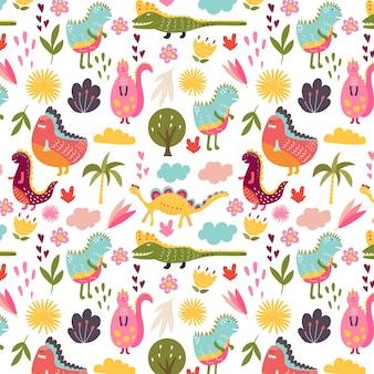 Pattern of nice dinosaurs