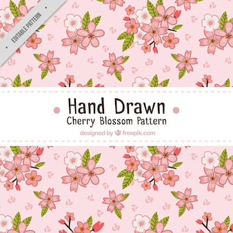 Pattern of pretty hand-drawn flowers