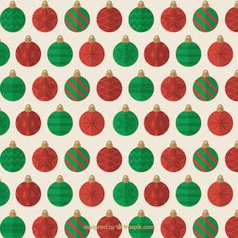 Pattern of red and green christmas balls