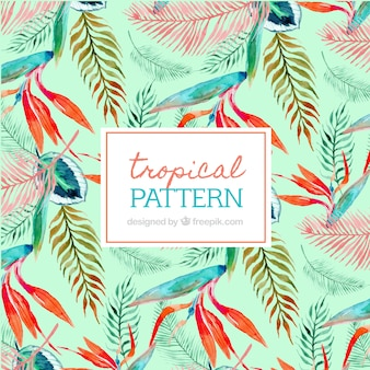 Pattern of tropical watercolor leaves