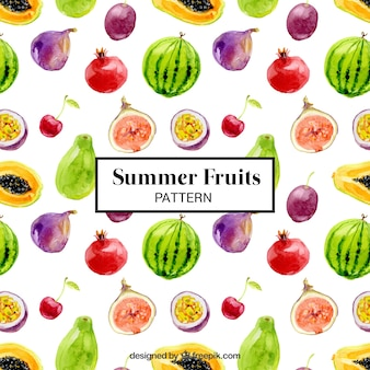 Pattern of watercolor summer fruits
