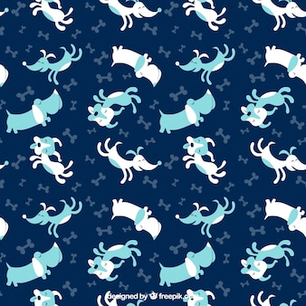 Pattern with blue dogs
