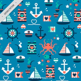Pattern with cute flat salor elements