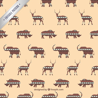 Pattern with ethnic animals