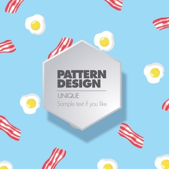 Pattern with fried eggs and bacon