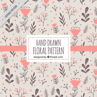 Pattern with hand drawn flowers in warm colors