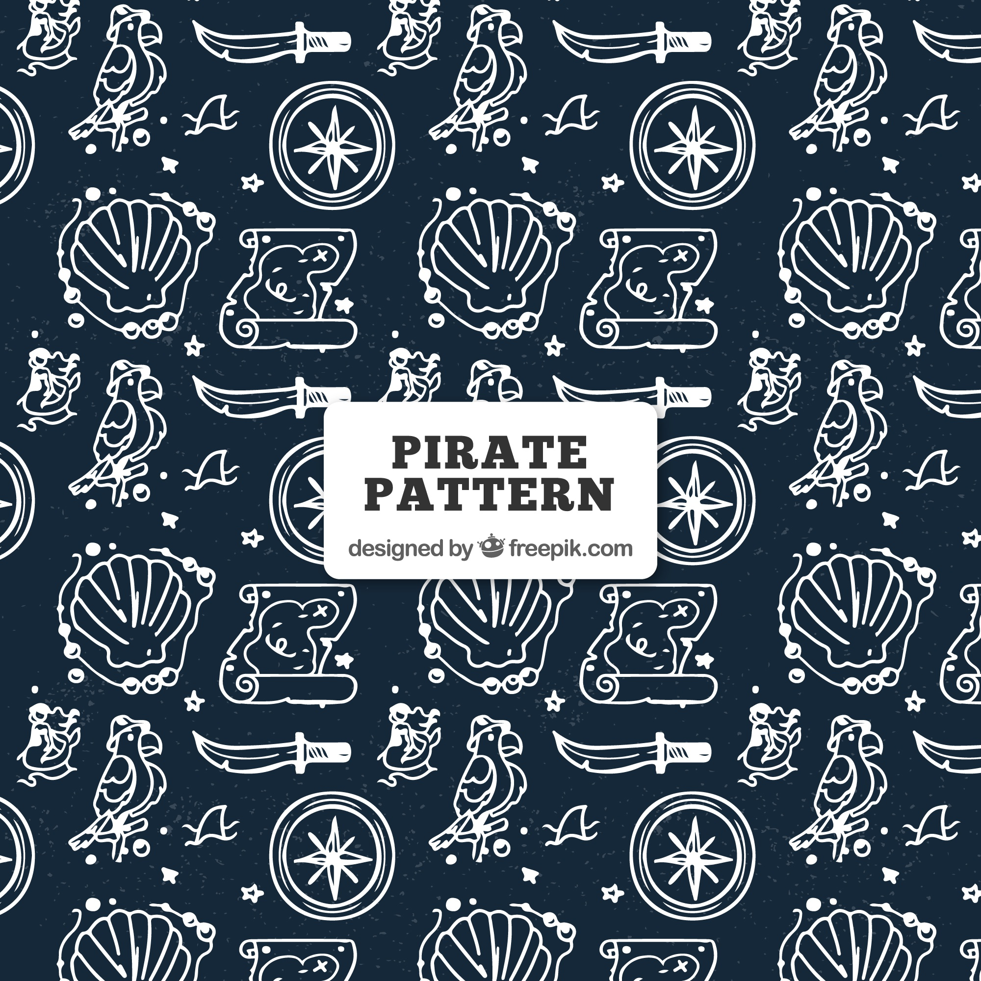 Pattern with hand drawn pirate objects