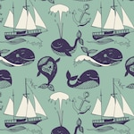 Pattern with marine motifs Yachts, funny whales, carefree sunny voyage