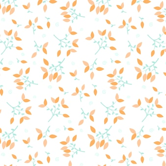 Pattern with orange leaves
