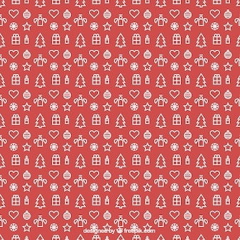 Pattern with outlined christmas decorations