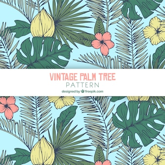 Pattern with palm leaves and flowers in retro style