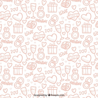 Pattern with sketches of love elements