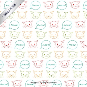 Pattern with sketchy cats