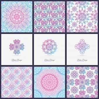 Patterns and logos with mandalas