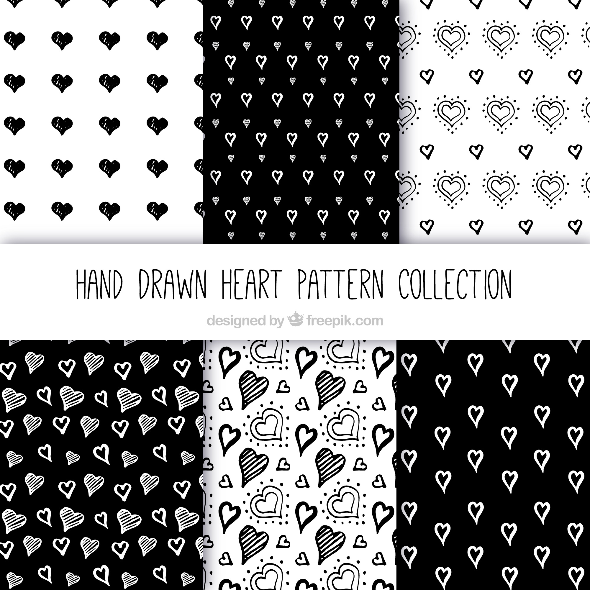 Patterns collection of hearts sketches