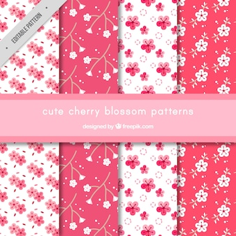 Patterns of cherry blossoms set