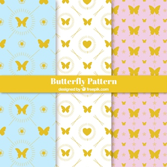 Patterns of golden butterflies set