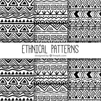 Patterns of hand drawn ethnic shapes