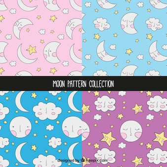 Patterns of hand drawn moons and clouds set
