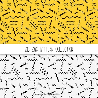 Patterns of hand-drawn zig-zag lines