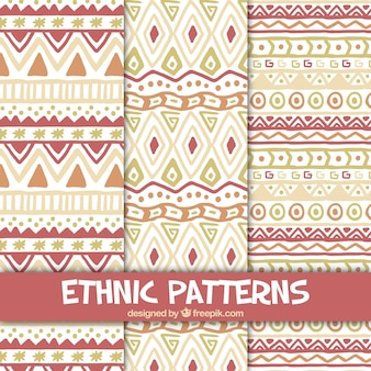 Patterns of hand-painted ethnic shapes