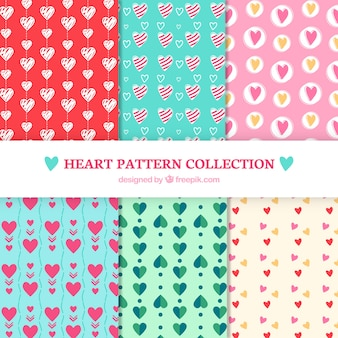 Patterns of hearts collection in different styles