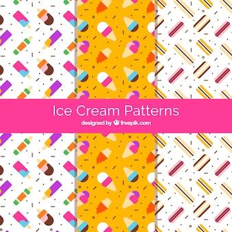 幾何学的形状のフラットデザインのアイスクリームのパターン